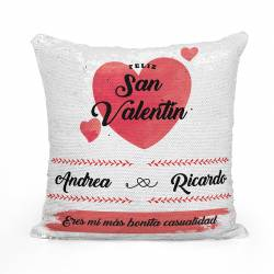 Cojín San Valentín personalizado de lentejuelas - Color rojo