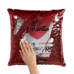 Cojín San Valentín personalizado de lentejuelas - Color rojo - Mano destapando