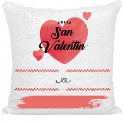 Cojín San Valentín personalizado de lentejuelas - Personalización rojo