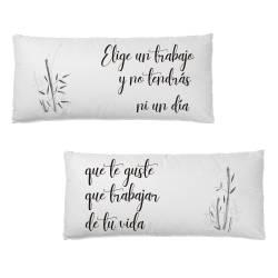 Pack cojines personalizados para cama estilo oriental con bambú - Simulación con frase
