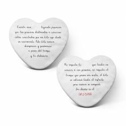 """Pack cojines personalizados """"El hilo rojo del destino"""" con forma de corazón - Leyenda escrita por detrás"""