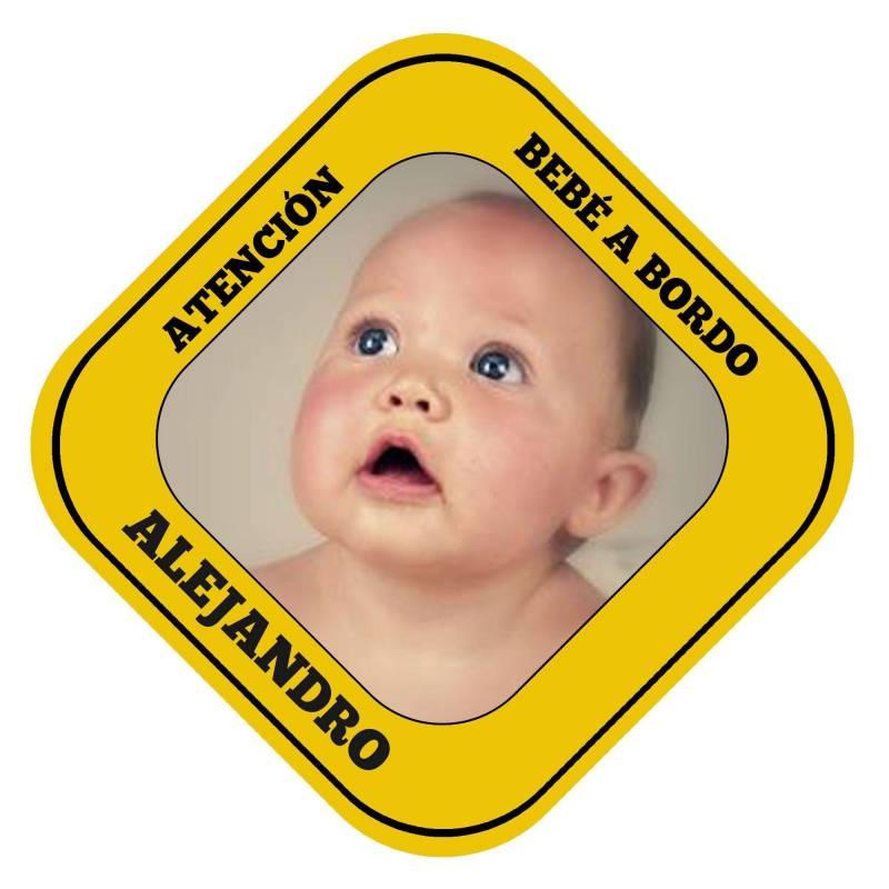 """Cartel personalizado """"Bebé a bordo"""" para el coche"""