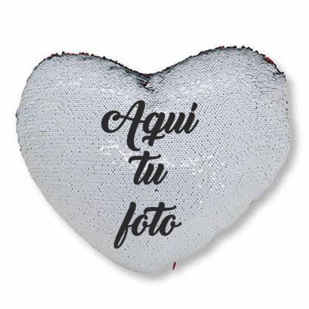 Cojín corazón de lentejuelas personalizado con foto
