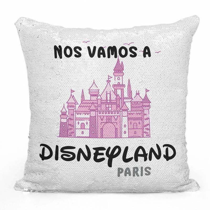 """Cojín de lentejuelas """"Nos vamos a Disneyland Paris"""" - Color rosa"""