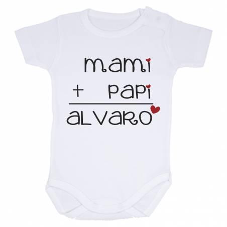 "Body personalizado ""Mami - Papi - Bebé"" manga corta"