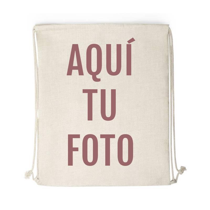 Mochila saco tipo lino personalizada con foto - Aquí tu foto