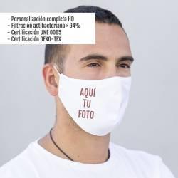 Mascarilla homologada personalizada con foto (+ protección) - Foto real