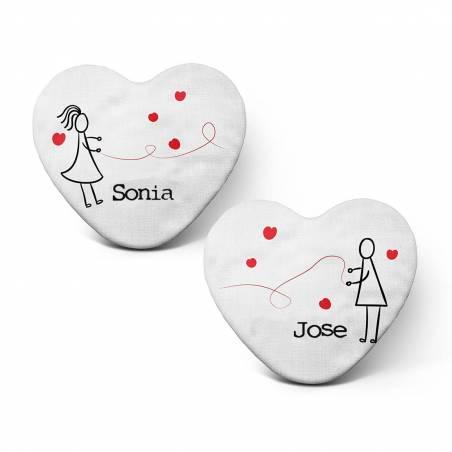 """Pack cojines personalizados """"El hilo rojo del destino"""" con forma de corazón para parejas"""