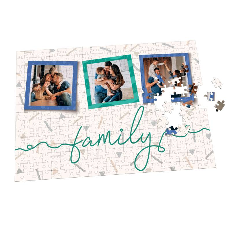Puzzle de familia personalizado con collage de tres fotos - Varios tamaños