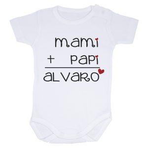 body para bebé mami + papi y el nombre del bebé