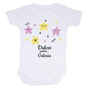 body para bebé dulces sueños y el nombre del bebé