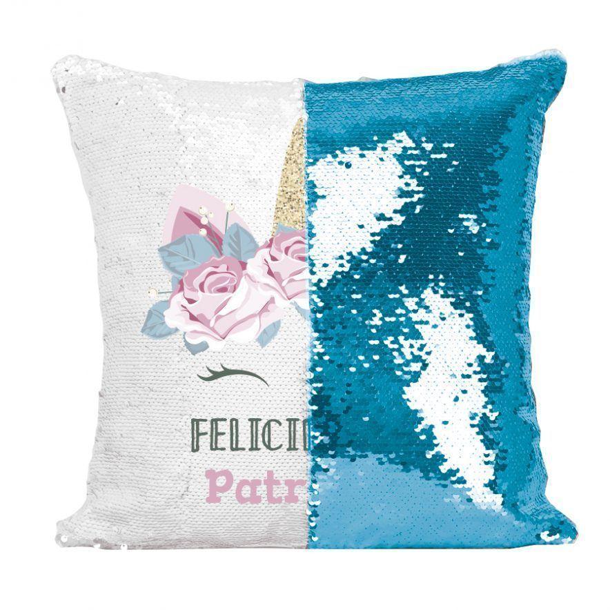 Cojin unicornio lentejuelas cumpleaños 🦄 azul