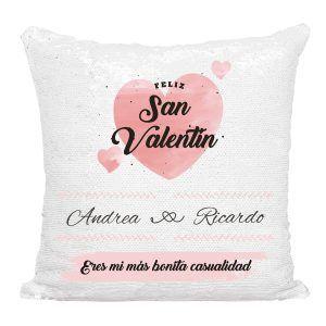 Cojín San Valentín 💘 personalizado de lentejuelas reversibles